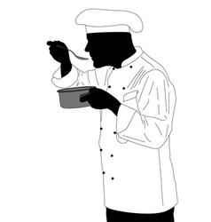 Kitchen chef tasting sauce vector