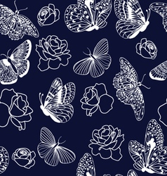 pattern butterflies and roses on dark blue backgro vector image