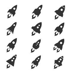rocket icon flat style set vector image vector image