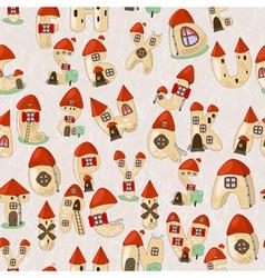 seamless cartoon latin alphabet consists of houses vector image