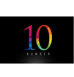 10 number rainbow colored logo company icon design vector