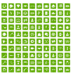100 gambling icons set grunge green vector