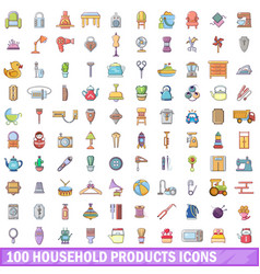 100 household products icons set cartoon style vector
