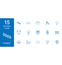 15 forest icons vector image