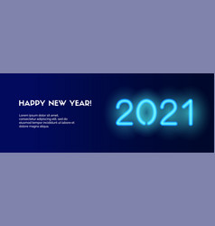 2021 happy new year long banner blue neon vector
