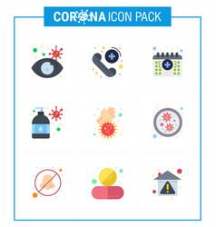 9 flat color viral virus corona icon pack vector