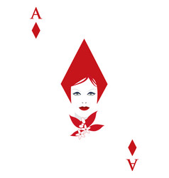 Ace of diamonds with a womans face adorned with vector