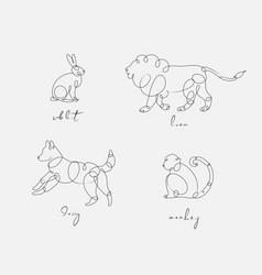 animal pen line rabbit pen line rabbit vector image