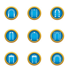 Arch case icons set flat style vector