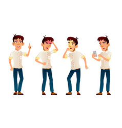 Asian boy poses set high school child vector