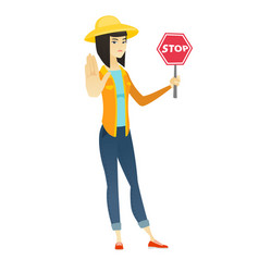 Asian farmer holding stop road sign vector