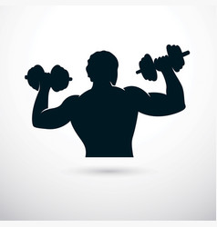 Athletic sportsman holding dumbbell cross fit and vector