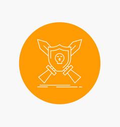 badge emblem game shield swords white line icon vector image