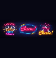 big collection neon signs for party celebration in vector image