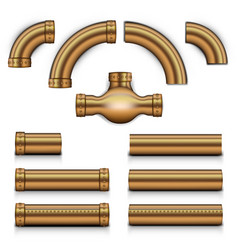 Big realistic steampunk copper metal tubes set vector