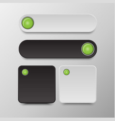 black and white button set round and square button vector image