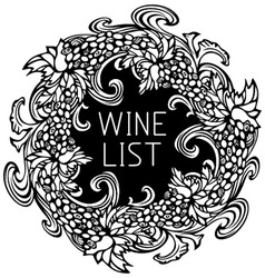 Black and white wine list design vector