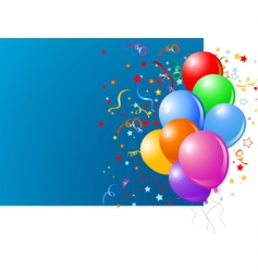 blue card with colorful balloons vector image