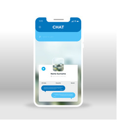 Blue live chat ui ux gui screen for mobile apps vector