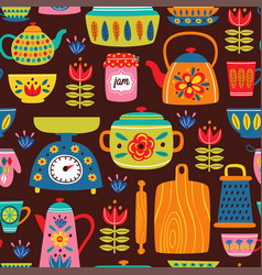 brown seamless pattern with vintage kitchen vector image