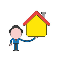 businessman character holding house color and vector image