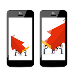 Businessmen with big red arrow on smart phone vector