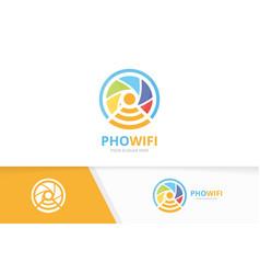 Camera shutter and wifi logo combination vector