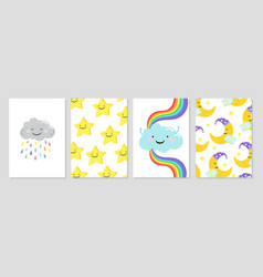 cards with clouds rainbow moon vector image