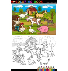 Cartoon Farm and Livestock Animals for Coloring vector