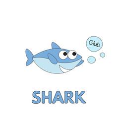 cartoon shark flashcard for children vector image