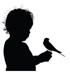 child happy silhouette with sweet bird vector image