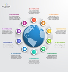 Circle infographic template with globe 10 options vector