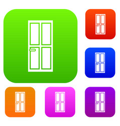 Closed wooden door set collection vector