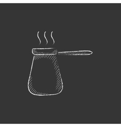 Coffee turk Drawn in chalk icon vector