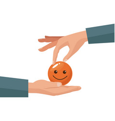 Colorful hand giving coin in the form of happy vector