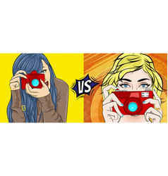comic book pop art with girl movie vector image