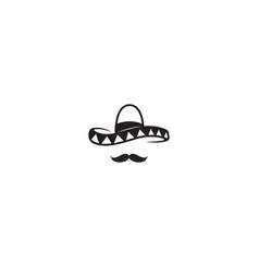 Creative mexican sombrero mustache head vector