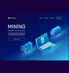 Cryptocurrency mining blockchain farms mainframe vector