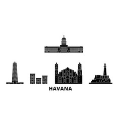 Cuba havana flat travel skyline set cuba havana vector
