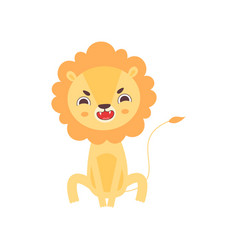 Cute angry lion roaring funny african animal vector