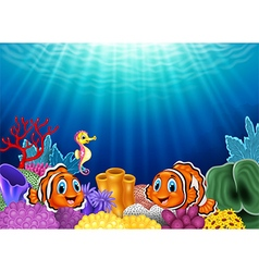 Cute clown fish and Seahorse in beautiful vector image