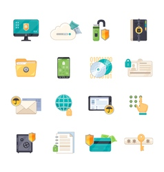 Data Protection Symbols Flat Icons Set vector