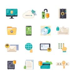 Data protection symbols flat icons set vector