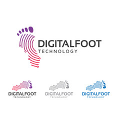 Digital foot technology logo design vector