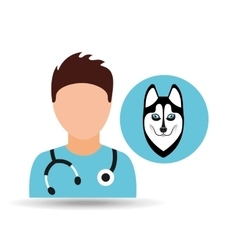 Doctor cartoon veterinarian dog siberian vector