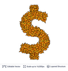 Dollar currency sign of autumn leaves vector