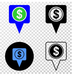 Dollar map marker eps icon with contour vector