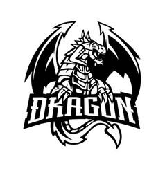 Dragon mascot logo silhouette version dragons vector