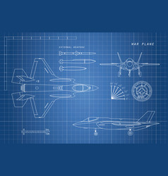 drawing of military aircraft vector image