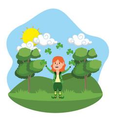 Dwarf girl juggle clover outdoors vector